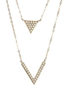NADRI | Layered Pave Triangle & Chevron Pendant Necklace | Nordstrom Rack