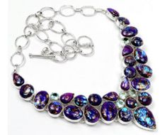 Handmade 925 sterling silver Purple Copper Turquoise And Blue Topaz Gemstone Cluster Necklace