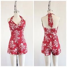 Red & White Rayon Floral Print Play Suit / Vintage One Piece Playsuit / Small to Medium 1940s Fashion, Vintage Fashion, Red And White Outfits, High Waisted Shorts, Designer Wear, Playsuit, Etsy Vintage, Floral Prints, Dress Up