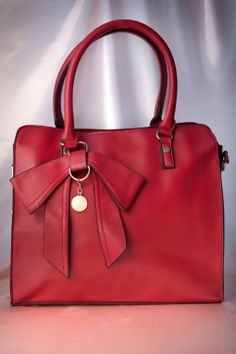 Kaytie - 50s Bow Charm and Chain Bag in Red