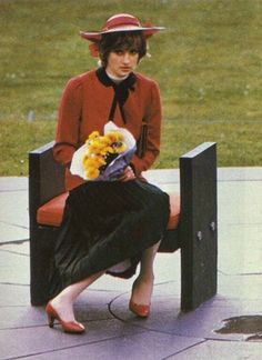 27 October 1981 HRH Princess Diana sitting on a throne of Welsh slate designed…