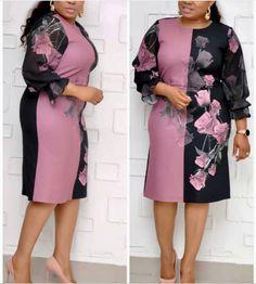 Foreverfad 2019 flowers print connected women dresses 6041 Big Dresses, Large Size Dresses, Dresses For Work, European Dress, Rainbow Print, Fishtail, American Women, Office Wear, Flower Prints