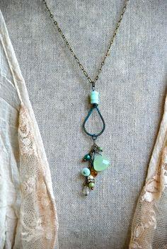 Peruvian opal gemstone necklace/bohemian by tiedupmemories on Etsy