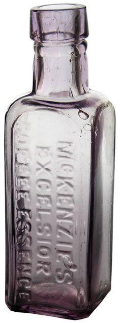 McKenzie's Excelsior Coffee Essence sample bottle (1oz size). Melbourne. c1900s Bottles And Jars, Glass Bottles, Purple Things, Antique Bottles, Purple Amethyst, Melbourne, Vase, Coffee, Antiques