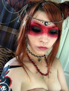 Tribal Makeup by ~DecayedxElegance on deviantART What a strange thing to come ac. ideas red hair Tribal Makeup by ~DecayedxElegance on deviantART What a strange thing to come ac. Witchy Makeup, Demon Makeup, Sfx Makeup, Cosplay Makeup, Makeup Dupes, Makeup Art, Hair Makeup, Makeup Style, Dark Fairy Makeup