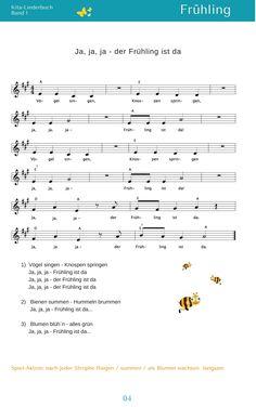 """""""Ja, ja, ja  - der Frühling ist da"""" - """"Kita-Liederbuch 1"""" - eBook 6,95€ - www.kitakiste.jimdo.com"""