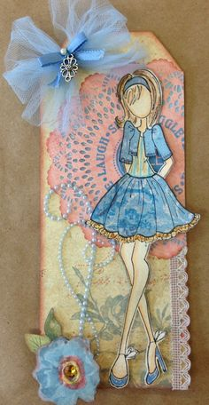 Julie Nutting Doll Stamp/Tag. For My handmade greeting cards visit me at My Personal blog: http://stampingwithbibiana.blogspot.com/