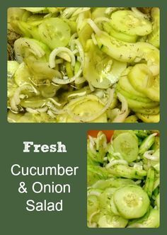 Recipe for a refreshing cucumber and onion salad in a vinegar, dill, and sugar dressing.
