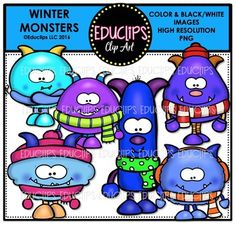 A set of winter monsters in winter colors. Some of them are wrapped in scarves and hats or ear muffs.12 images (6 in color and the same 6 in B&W)This set contains all of the images shown.Images saved at 300dpi in PNG files.For personal or commercial use.TOU included in download.This is a zip file.
