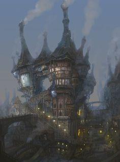 """Steampunk village"" by Jungmin"