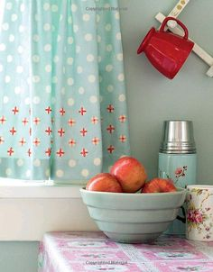 Embroidered Kitchen Curtains - LOVE the red and teal!    Kitchen ideas