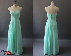 Best Selling Modest Mint Chiffon Bridesmaid Dresses Under 100-Affordable Princess/A-line Sweetheart Ruched Long Mint Bridesmaid Dresses 9002 on Etsy, $89.99