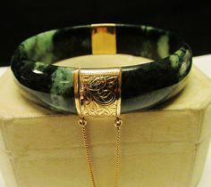 Ming's of Honolulu Translucent Black and Green jade bracelet by Alohamemorabilia