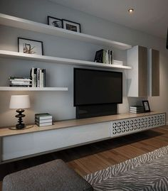 Like this but with raw timber shelves. Like the idea of a slide opening for access to austar box and DVD player. But Solid wood. Living Room Wall Units, Living Room Tv Unit Designs, Home Living Room, Apartment Living, Living Room Decor, Tv Wall Units, Wall Unit Designs, Timber Shelves, Tv Wall With Shelves