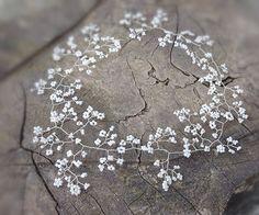 Wedding Hair vine babys breath pearly White by RaindropsonRosesx