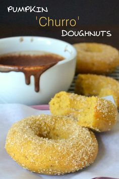 To-die-for baked pumpkin doughnuts with a hot chocolate dipping sauce
