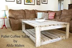 How to Whitewash a Pallet Coffee Table DIY   Alida Makes: