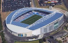 Aerial view of the American Express Community Stadium (Amex), Falmer, Brighton, East Sussex - home ground of Brighton and Hove Albion Brighton & Hove Albion, Brighton And Hove, Brighton England, Sports Stadium, Everton Fc, Football Stadiums, East Sussex, Aerial View, Marina Bay Sands