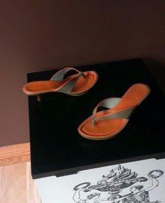 Cole Haan orange and green sandals Sz 7B, excellent condition #ColeHaan #OpenToe