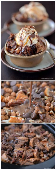 "Slow Cooker Chocolate Turtle Bread Pudding I couldn't pass this one up! ""Enjoy the slow cooker chocolate turtle bread pudding while it is still. Slow Cooker Desserts, Crock Pot Desserts, Just Desserts, Dessert Recipes, Receitas Crockpot, Yummy Treats, Yummy Food, Sweet Treats, Chocolate Turtles"