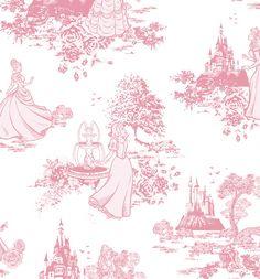 Pink Disney Princess Toile Wallpaper 52cm X 10m From Graham & Brown : TruffleShuffle.com