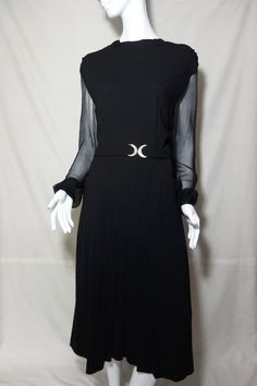 black, sexy chiffon crepe 40s 'high tea' blithe spirit dress