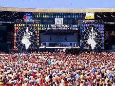 - Live Aid dual concert venue 1985 Wembley Stadium in London and John F. Kennedy Stadium in Philadelphia Purpose: Raised funds for relief of the ongoing Ethiopian famine Judas Priest, Paul Mccartney, Dire Straits, Elvis Costello, Lionel Richie, Phil Collins, Stevie Wonder, George Michael, Black Sabbath