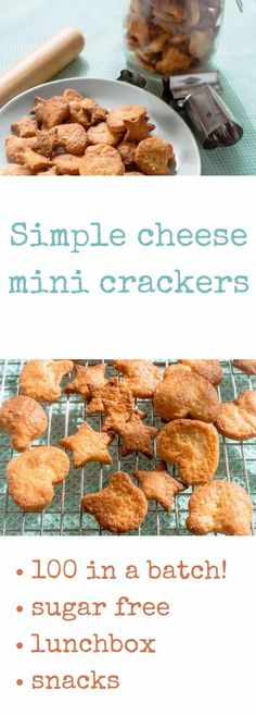 Simple cheese crackers!  Over 100 in a batch, perfect for the lunchbox, toddler snacks. Easy recipe made in the food processor.  No added sugar and no yucky stuff! via @kidgredients