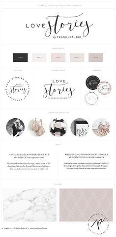 "Custom Logo Design & Branding Package Inc. Submark / Logo Stamp /  Watermark -  ""Love Stories"" Script Logo Example"