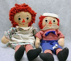 "60's 70's Knickerbocker Raggedy Ann & Andy rag cloth dolls 15"" tall. I had these, the smaller size set, and the extra big Andy."