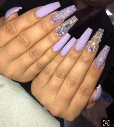 Try some of these designs and give your nails a quick makeover, gallery of unique nail art designs for any season. The best images and creative ideas for your nails. Purple Acrylic Nails, Best Acrylic Nails, Acrylic Nail Designs, Light Purple Nails, Clear Nail Designs, Purple Nail Designs, Colorful Nail Designs, Acrylic Nail Art, Purple Glitter