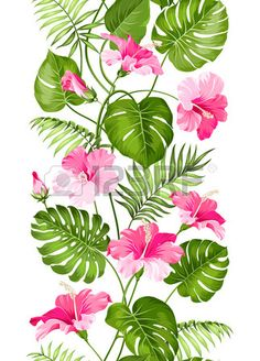 Floral linear tile design Design for print Elegant card patern Vector… Tropical Art, Tropical Flowers, Hawaiian Flowers, Watercolor Flowers, Watercolor Paintings, Flamingo Rosa, Leaf Border, Image Clipart, Tile Design