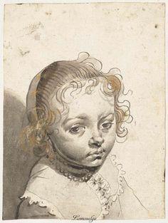 Gerard ter Borch (I), 1594 - 1662 Hoofd van een blond kind, Рейксмузеум