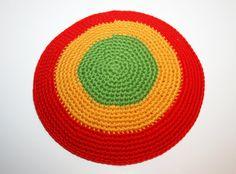 kippah red gold and green by crochetkippah on Etsy