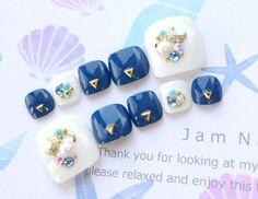 ペディ用♡サンダルにオススメ♡さわやかカラー♡青と白のネイルチップ♡279