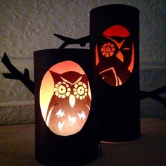 Orange and black cardstock paper owls are silently watching you.  See how easy these are to make!!!  | craftylumberjacks.blogspot.com