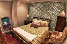 Interior Design, Home Decor, Black and White, Boho, Chic, Modern, Guest Bedroom, Stencil