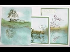Moon Lake Reflection Technique Card using Stamp-a-ma-jig by Stampin' Up! - YouTube