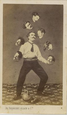 """How people Photoshopped before Photoshop c. 1880 """"Man juggling his own head,"""" unidentified French artist Image: Collection of Christophe Goeury / """"Faking It: Manipulated Photography Before Photoshop"""" at The Metropolitan Museum of Art Photomontage, Circus Vintage, Photoshop World, Photoshop Actions, Weird Vintage, Photographie Portrait Inspiration, Images Vintage, Fake Photo, Daguerreotype"""