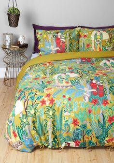 Paint Me a Picture Duvet Cover Set in Full/Queen by Karma Living - Cotton, Woven, Multi, Boho, Best, Novelty Print, Spring, Dorm Decor