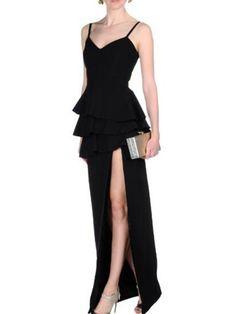 Hodoyi Elegant Side Split Pleated Slim Maxi Dress Sleeveless Strap Sexy  Deep V-neck Vestidos Black Ruffles High Waist Long Dress - CEOsShop 0bc78fd4f