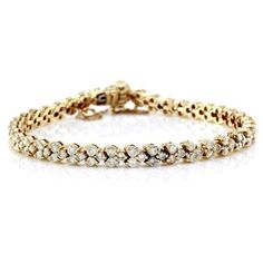 Pre-owned 14K Yellow Gold 4.47ctw Diamond Heart Motif Tennis Bracelet (322,680 INR) ❤ liked on Polyvore featuring jewelry, bracelets, gold tennis bracelet, 14 karat gold jewelry, vintage bangles, vintage gold jewelry and yellow gold tennis bracelet