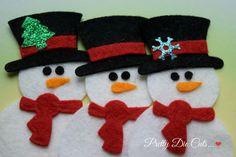 Felt Snowman Pack of Snowmen Christmas Decoration by PrettyDieCuts