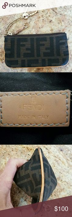 AUTHENTIC FENDI KEY /CHANGE POUCH FENDI KEY/CHANGE POUCH/OR CREDIT CARD POUCH! PERFECT TO THROW IN A CLUTCH  INSIDE VERY CLEAN ! OUTSIDE GREAT CONDITION ! NO RIPS OR TEARS! ZIPPER WORKS PERFECT! Fendi Accessories Key & Card Holders