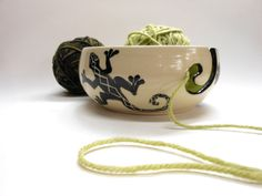 Gecko Yarn bowl Stoneware by Uturn on Etsy, $38.00