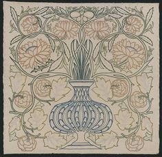 Flowerpot Embroidered Panel   Designed by William Morris   Embroidered by daughter May Morris   Collection of the Victoria and Albert Mus...