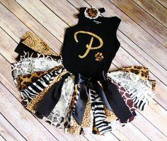 First Birthday Jungle Outfit // Safari Mixed Animal Print Jungle Fabric Tutu Top and Headband // by FlyAwayJo // Fast Shipping // Buy it now!