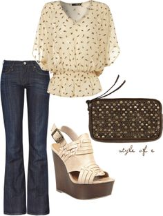 """Cream Flowy Top"" by styleofe on Polyvore"