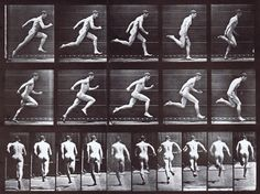 Profile and rear views of nude male running at full speed animation reference using muybridge plate 63 from animal locomotion