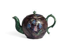 STAFFORDSHIRE SALTGLAZE AUBERGINE-GROUND TEAPOT AND COVER, PROBABLY WILLIAM GREATBATCH OR WEDGWOOD, CIRCA 1760. | Northeast Auctions
